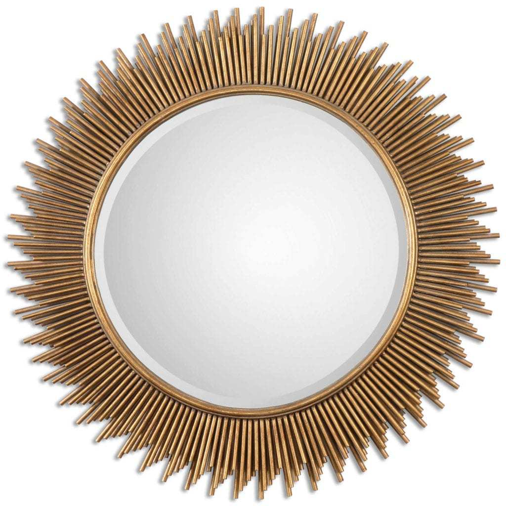 gold sunburst mirror. Frame Is Created Using Varying Lengths Of Metal Tubes Finished In An Antiqued Gold Leaf. Mirror Has A Generous 1 1/4\u2033 Bevel. Sunburst